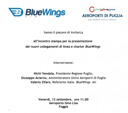 Gino Lisa. Presentazione dei voli BlueWings Air